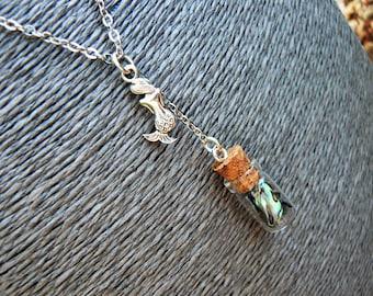 Mermaid Tears Necklace, Mermaid Tears In A Bottle Necklace, Abalone Necklace, Paua Necklace, Cosplay Necklace, Boho, Hippie, Costume, Siren