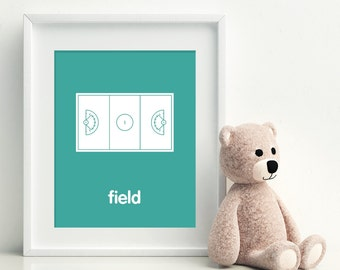 LACROSSE FIELD Children's Art, Children's Decor, Sports, Lacrosse, Kids Rooms Decor - Custom Nursery Decor