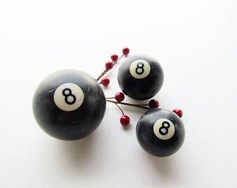 Trio of Vintage Eight Balls, Billiard Balls, 8-Ball, Lucky 8, Magic 8 Ball