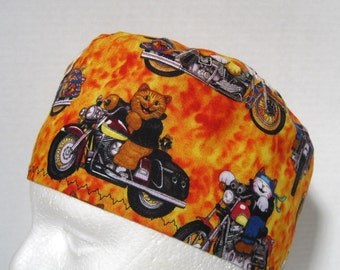 Scrub Hat, Surgical Cap or Skull Cap Cool Cats on Motorcycles