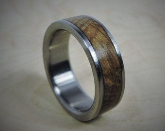 Titanium Ring, Wood Ring, Custom Made Ring, Wedding Ring, Charred Oak Whiskey Barrel Ring, Mens Ring, Womens Ring, Mens Wedding Ring