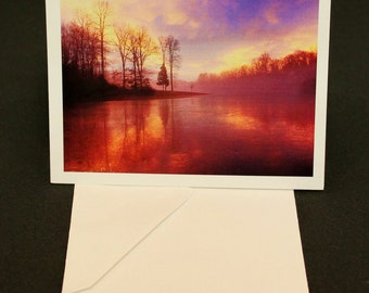 Sunset on a Frozen Lake Pack of 5 Greeting Cards