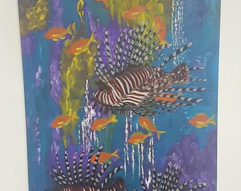 Pterois Fish Underground View Acrylic Painting Painted On Canvas Wall Art Handmade