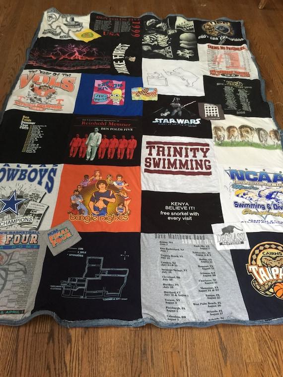T-Shirt Double Sided Blanket, T-Shirt Blanket, T-Shirt Quilt, Memory Quilt, Ragged T-Shirt Blanket, ragged T-Shirt Blanket