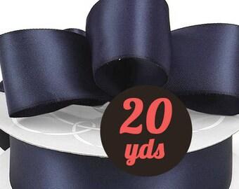 "Satin Denim Navy Blue Ribbon - 7/8"" wide at 20 yards"