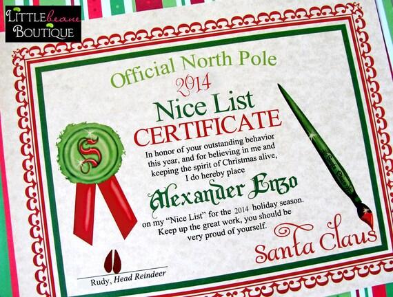 Printable santas nice list certificatediy santa like this item yadclub Gallery