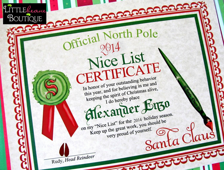 Printable santas nice list certificatediy santa zoom yadclub Images