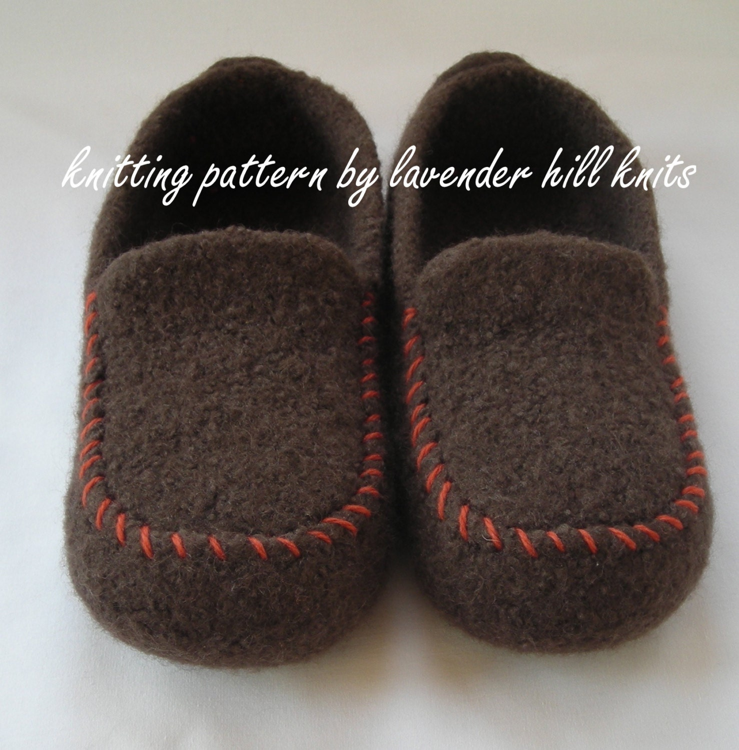 Knitting Pattern PDF - Men\'s Felted Wool Loafers Mocs Slippers - DIY Fathers Day gift - resell permission - BULKY weight yarn