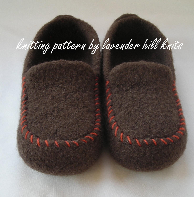 Knitting Pattern PDF Men\'s Felted Wool Loafers Mocs