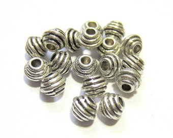 30 Metal beads antique silver spacers jewelry making Large hole beads no lead LF5166(S6),