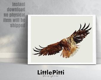 Double exposure, eagle print, bird print, eagle decor, digital print, bird of prey, bird prints, eagle bird photo, bird wall art, nature art