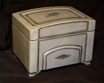 Antique Reproduction with Real Gold Leaf Embossing Ivory Leather Box