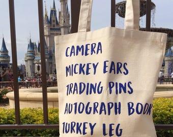 Disney Tote Bag * Disney Canvas Cotton Tote * Disney Vacation Tote Bag