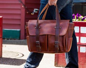 Leather Messenger Bag // Leather Shoulder Bag // Leather Satchel // Leather Work Bag