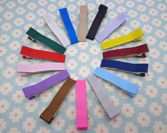 20 pcs Mixed color girl hair clips -- satin hair clips