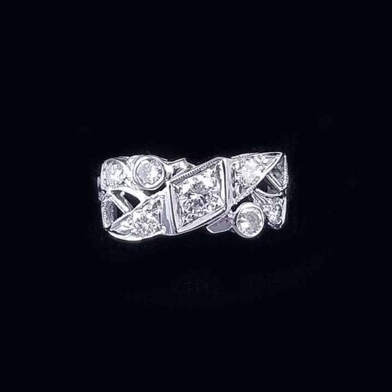 Vintage Art Deco 14k white gold .60 carat diamond wedding band, wedding ring, engagement ring, anniversary ring, size 7.5