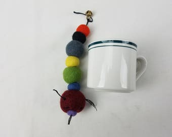 Cat toy teaser, Hand felted wool, Caterpillar, assorted colors