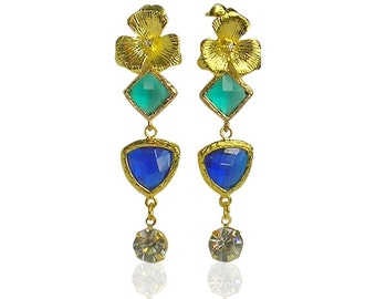 Sapphire blue and green  crystal earrings, Long party earrings, Handcrafted jewellery, Art deco royal blue earrings, Gold dangly earrings