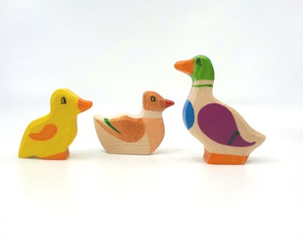 Wooden Duck and Duckling, Waldorf toy, Ducks Family, Wooden duck, Duck figurine, Pretend play, Wooden birds, bird family, Miniature figurine