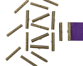 150 pieces  38mm ( 1 1/2 inch ) Antique Bronze Ribbon Clamp End Crimps - Artisan Series