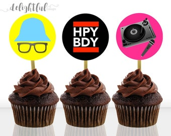 Instant Download Old School Hip Hop Rap 80s Throwback Birthday Party Cupcake Toppers / Stickers / Decoration - Printable Digital File