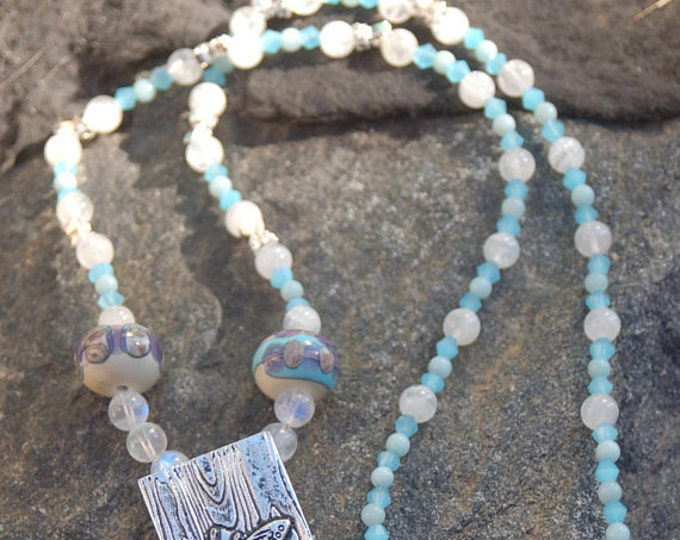 "Featured listing image: Sale -  Butterfly Moonstone and Amazonite Necklace, Butterfly Necklace,""A Spring Walk"""