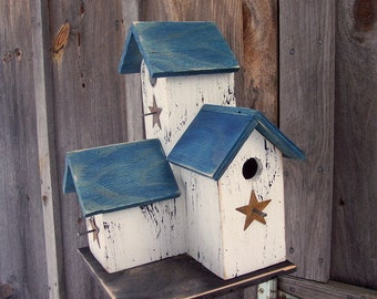 Primitive Country Condo Birdhouse, White and Blue Three Nesting Boxes Handmade Birdhouse, Functional Bird  House,  Rustic Bird House.
