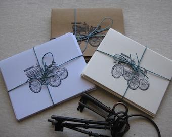 6 Handmade Vintage Automobile blank notecard set