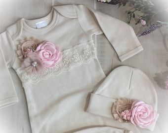 Newborn Girl Outfit, Newborn Girl Layette, Ivory and Pink Coming Home Outfit, Baby Girl Take Home Outfit, Baby Girl Shower Gift