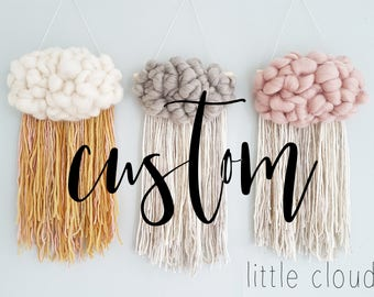 Custom Fluffy cloud Woven Wall Hanging, nursery decor, home decor. Choose the colors you want and I will make it for you! personalized gift