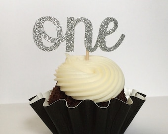 Glitter ONE Cupcake Toppers - 1st Birthday - First Birthday - Dessert Table - Party Decor - Winter ONEderland - Wild ONE - Donut Toppers