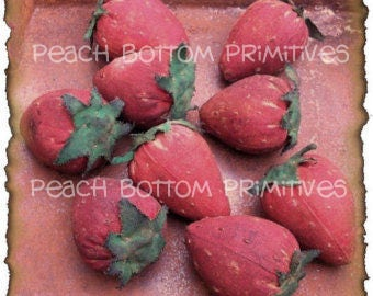 ePattern~Primitive Fresh Picked Strawberries Bowl Fillers Sewing PDF File