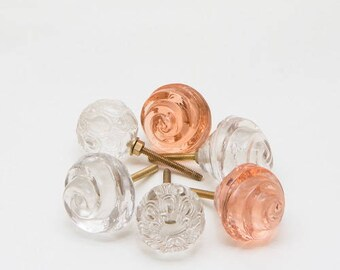 Set of 6 Glass Trix flowers Knobs