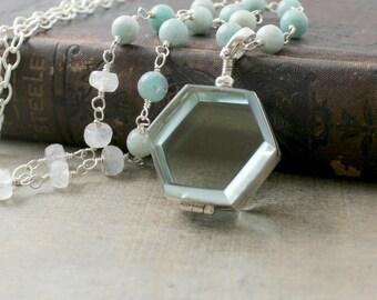 Glass Locket Necklace, Glass Photo Locket, Gemstone Locket Long Locket Hexagon Locket, Modern Locket, Push Gift Locket, New Mom Gift for Her