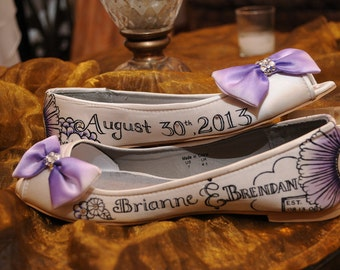 Personalized, hand painted wedding shoes!