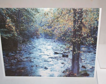 Folding note cards of a flowing forest stream - set of 10 note cards with envelopes