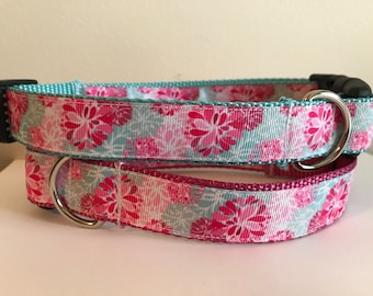 Large 1 inch Pink and Aqua Flowers Dog Collar