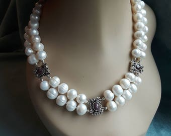 Freshwater pearl two strand necklace with Sterling silver ruby inserts