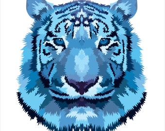 Blue Tiger. Cross Stitch pattern, Digital Download PDF. Geometric blue tiger design with beautiful patches. Bright and Modern