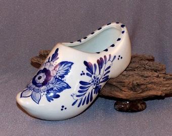 Delfter blau Keramik Clog Schuh / / Made in Holland / / handbemalt / / blaue Blumen / / Delfts Blauw / / Delfter blau