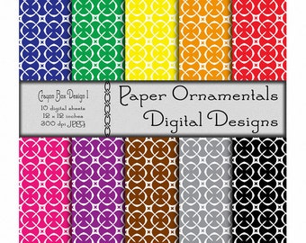 Digital Paper Pack, Commercial Use, Digital Scrapbook Paper, Printable Paper Instant Download, Geometric Pattern Paper, Primary Colors