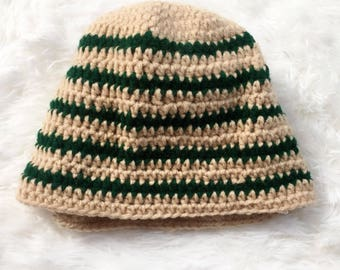 Tan and green striped beanie