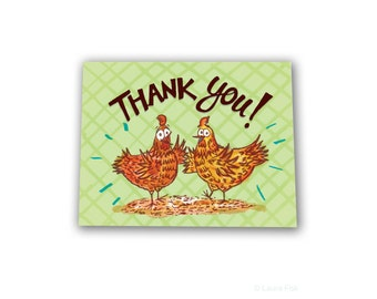 Thank you chicken and hen greeting card funny silly chickens