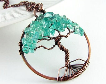 Tree Of Life Necklace Wire Wrapped Pendant Turquoise Apatite Stone and Copper Jewelry Wire Wrapped Jewelry