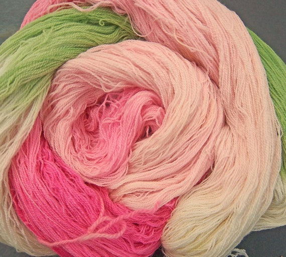 Yarn Laceweight Merino/Silk/Cashmere Apple Charry Blossoms Elvincrafts Hand Painted
