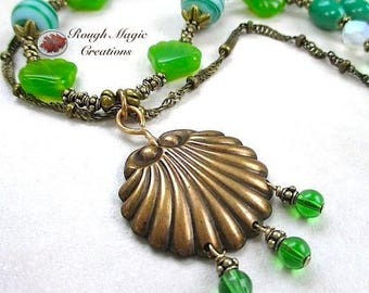 Long Green Necklace, Shell Pendant Antiqued Brass, Aqua Blue Green Lampwork, Multi Strand Necklace, Boho Beach Jewelry for Women Gift N306
