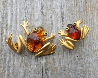 Gold Tone and Amber Frog Brooch and Lapel Pin