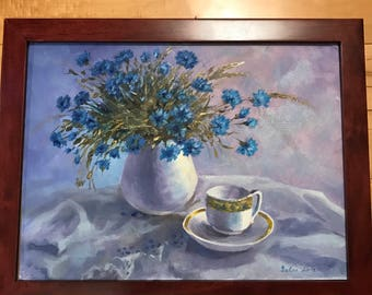 Blue Flowers at Breakfast. Mothers Day Gift. Teatime. English breakfast.  Reakfast at Tiffanys. Wildflowers.