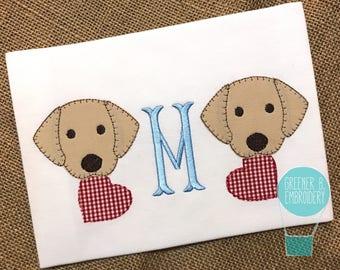 Valentine's Day Applique Shirt / Puppy Applique / Dog Applique / Dog Valentine / Puppy Heart / Lab Dog Shirt / Toddler Valentine Day Shirt