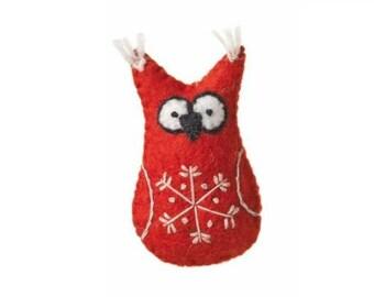 Fair Trade Holiday Handmade Snowflake Owl Christmas Tree Ornament